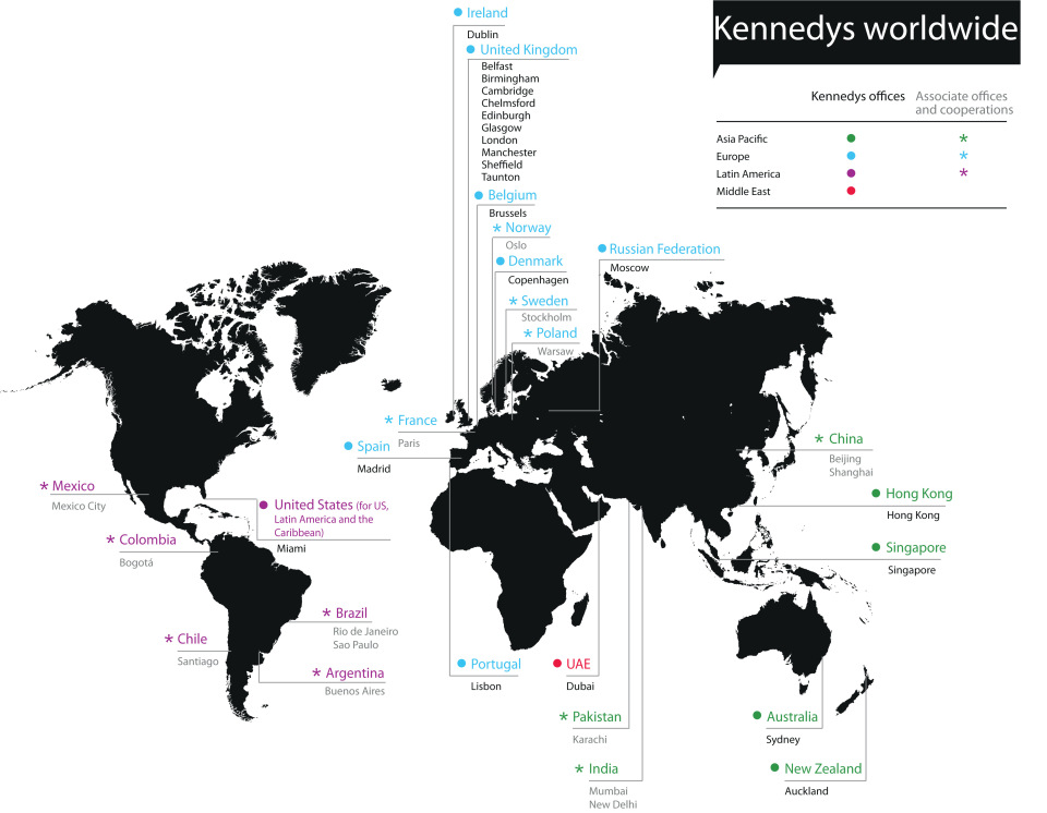 Map Kennedys Worldwide